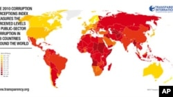 透明国际2010年贪腐印象指数报告中的一幅世界地图