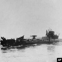 这艘德国潜水艇据称击沉名为路西塔尼亚的英国客船