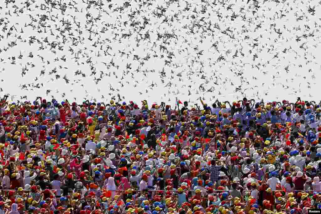 Birds are released at the end of the military parade marking the 70th anniversary of the end of World War II, in Beijing, China.