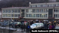 A protest by parents of a school in Srebrenica after the release of a photograph of a student with Chetnik insignia