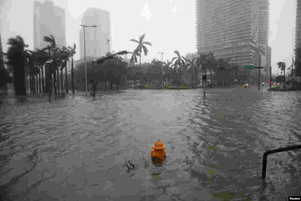 Flooding in the Brickell neighborhood as Hurricane Irma passes Miami, Florida, Sept. 10, 2017.
