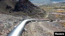FILE - A section of a natural gas pipeline is seen near Agarak, Armenia.