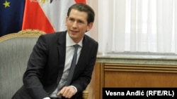 The Minister of Foreign Affairs of Austria Sebastian Kurz visiting with Serbian Prime Minister Aleksandar Vucic in Belgrade