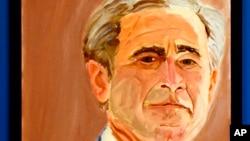 在乔治.W.布什总统图书馆展出的布什总统的自画像