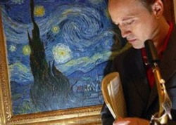 "Ted Nash with his saxophone near ""The Starry Night"" by Vincent Van Gogh"