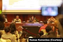"""Menteri Keuangan Sri Mulyani dalam konferensi Pers """"Laporan APBN tahun 2019"""", di Kementerian Keuangan, Jakarta, Selasa, 7 Januari 2019. (Foto: Humas Kemenkeu)"""
