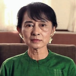 Burmese pro-democracy leader Aung San Suu Kyi congratulates Voice of America on its 70th anniversary in this screengrab from a video produced to mark the milestone, March 7, 2012.