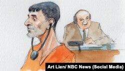 نقاشی از حضور «مصطفی ال امام» متهم به قتل سفیر سابق آمریکا در لیبی در دادگاه فدرال در واشنگتن - اثر از لین، ان بی سی نیوز