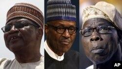 Ibrahim Badamasi Babangida (Hagu) Shugaba Muhammadu Buhari (Tsakiya) Olusegun Obasanjo (Dama)