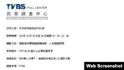 """台湾TVBS 电视台民调中心""""马习会与国族认同""""民调(台湾TVBS 电视台民调中心截屏)"""