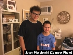 Jason Piccolomini, left, and his brother Brandon, right, at their home in Staten Island, NY. Jason leaves for his first-year of college this weekend.
