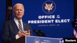 ប្រធានាធិបតីជាប់ឆ្នោតលោក Joe Biden ថ្លែងអំពីការថែទាំសុខភាព នៅក្រុង Wilmington រដ្ឋ Delaware ថ្ងៃទី១០ ខែវិច្ឆិកា ឆ្នាំ២០២០។