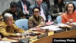Sekjen PBB Antonio Guterres berbicara dalam Sidang DK PBB di New York yang dipimpin oleh Menlu RO Retno Marsudi 7 Mei 2019 lalu (Foto: dok).