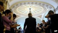 Vodja senatske većina, demokrata Heri Rid na Kapitol Hilu, 25. marta 2014, posle radnog ručka sa senatskim demokratama.