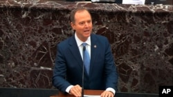In this image from video, impeachment manager Rep. Adam Schiff, D-Calif., speaks in favor of an amendment offered by Senate Minority Leader Chuck Schumer, D-N.Y., during the impeachment trial against President Trump in the Senate, Jan. 21, 2020.