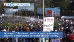 VOA60 Addunyaa - Myanmar: Police turned water cannons on crowds of peaceful demonstrators in several cities