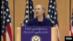 La secretaria Clinton destacó que los derechos de los homosexuales están protegidos en países como Argentina y Colombia.