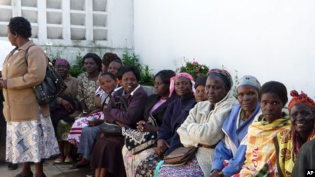 Women in Kapenguria, Kenya, wait to be screened during a 'Prevention International: No Cervical Cancer' training campaign.