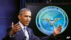 Presiden AS Barack Obama berbicara mengeni perang melawan terorisme dalam konferensi pers di Pentagon, Washington (4/8). (AP/J. Scott Applewhite)