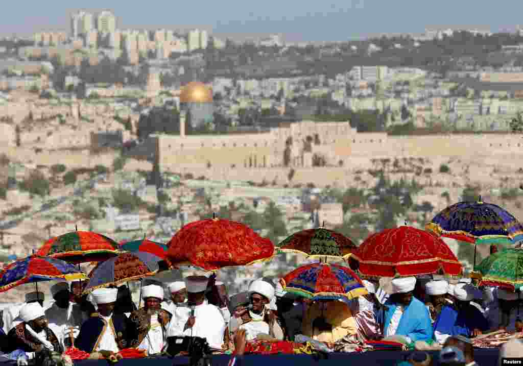 Religious leaders of the Israeli Ethiopian community take part in a ceremony marking the Ethiopian Jewish holiday of Sigd in Jerusalem.