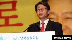 류길재 한국 통일부 장관이 14일 서울에서 열린 6·15 공동선언 13주년 기념식에서 인사말을 하고 있다.