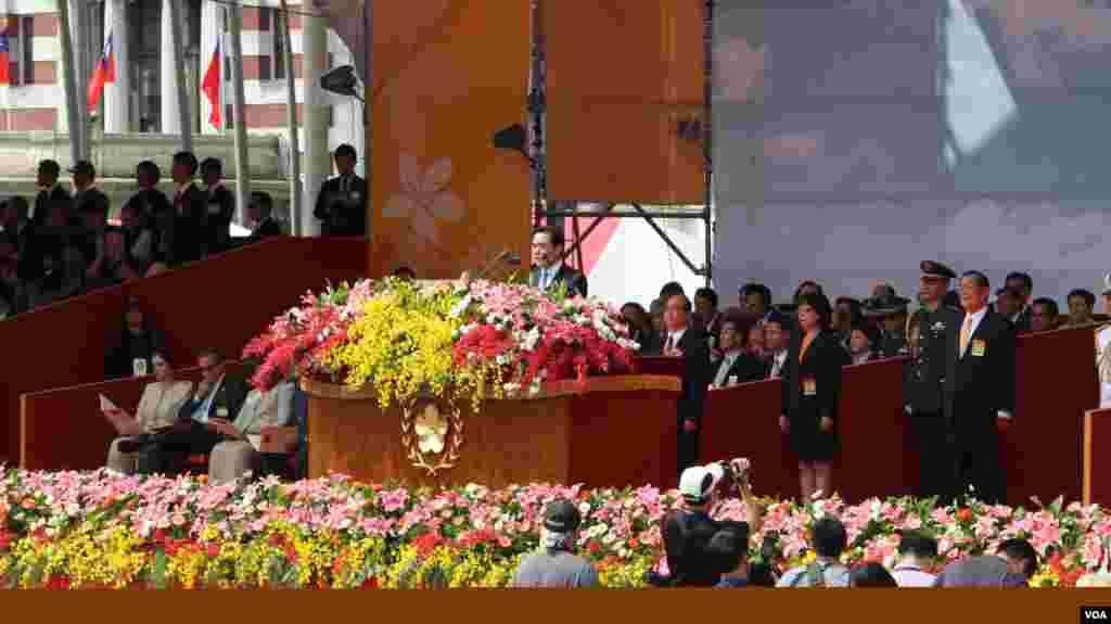 中华民国庆祝104年双十国庆,马英九总统发表国庆演说。(美国之音李逸华拍摄)