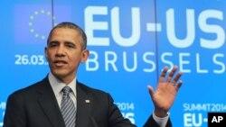 바락 오바마 미국 대통령이 유럽 국가들과의 정상회담을 위해 26일 벨기에 브뤼셀을 방문했다.