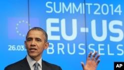 Predsednik Obama obraća se novinarima u zgradi Evropskog saveta u Briselu, 26. marta 2015.