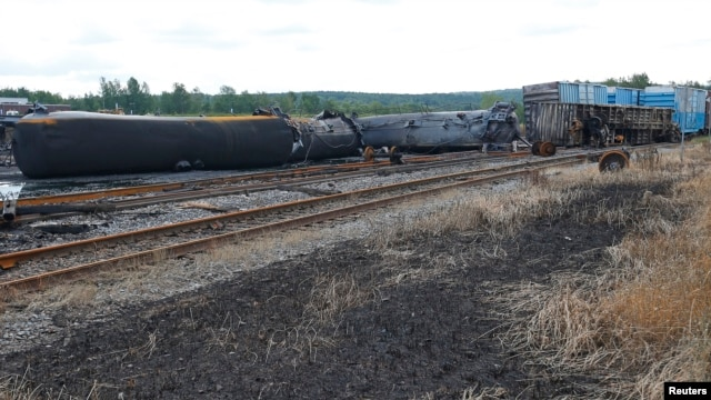 Wagons of the train wreck are seen in Lac Megantic, July 9, 2013.