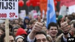Hollanda'da Binlerce Öğrenci Gösteri Yaptı