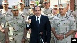 中东通讯社提供的照片显示埃及总统塞西在西奈半岛袭击事件死难军人葬礼前发表电视谈话(2014年10月25日)