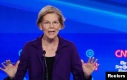 FILE - Senator Elizabeth Warren speaks during the fourth U.S. Democratic presidential candidates 2020 election debate in Westerville, Ohio, Oct. 15, 2019.
