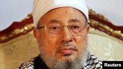 FILE - Qatar's Egyptian-born cleric Sheikh Youssef al-Qaradawi