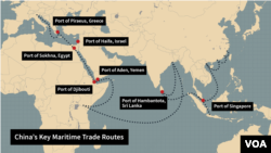 """Key Chinese shipping routes along the country's new maritime """"silk road."""""""