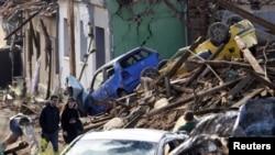 Prizor u selu Mikulcice kroz koje je prošao tornado