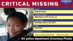 Avis de recherche diffusé par la police de Washington DC.