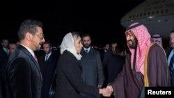 Mohammed ben Salmane à son arrivée à Washington, D.C., USA, le 19 mars 2018.