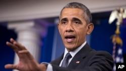 باراک اوباما در کاخ سفید درباره قوانین جدید وزارت خزانه داری آمریکا صحبت می کند. ۱۷ فروردین ۱۳۹۵