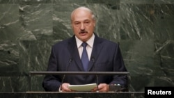 FILE - Belarus President Alexander Lukashenko addresses a plenary meeting of the U.N. Sustainable Development Summit in New York, Sept. 27, 2015.