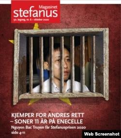 Tạp chí Stefanus đăng hình nhà hoạt động Nguyễn Bắc Truyển trên trang bìa.