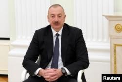 资料照片:阿塞拜疆总统阿利耶夫在莫斯科会晤俄罗斯总统普京。(2021年1月11日)