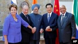 Os cinco líderes do BRICS - Brasil, Rússia, Índia, China e África do Sul