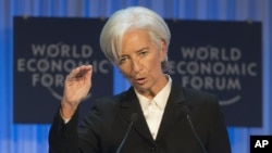 IMF Managing Director Christine Lagarde in Davos, Switzerland, Jan. 23, 2013.