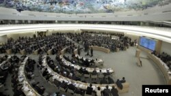 FILE - Overview of the U.N. Human Rights Council during the emergency debate on human rights and humanitarian situation in Syria, at the United Nations in Geneva, February 28, 2012.