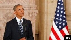 Le président des États-Unis Barack Obama lors d'un discours à Madrid, en Espagne, le 10 juillet 2016.