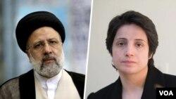 نسرین ستوده (راست) وکیل و حقوقدان منتقد است که بارها در زمان ریاست ابراهیم رئیسی بر قوه قضائیه زندانی شد.