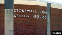 Stonewall Jackson High School is pictured in this still image from video, in Manassas, Virginia, Aug. 17, 2017.