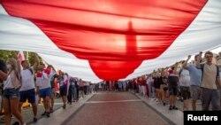 Акция солидарности с протестами в Беларуси в польском Белостоке. 20 августа.