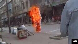 2011年11月3号,一名西藏尼姑在西藏自焚(资料照)