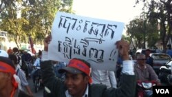 """The opposition protester holds a placard demanding """"reelection""""."""